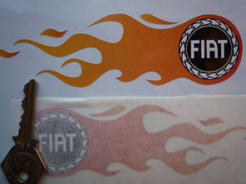 "Fiat Flames Old Garland Logo Handed Stickers. 5.5"" Pair."
