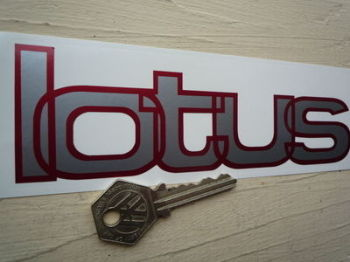 "Lotus Silver & Red Shaped Text Sticker. 6.5""."