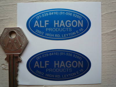 "Alf Hagon Products Stickers. 2.25"" Pair."
