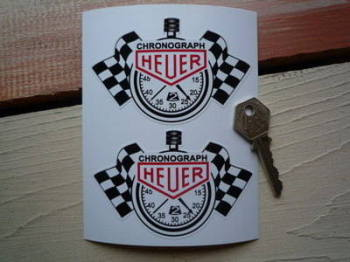 "Chronograph Heuer Stopwatch Lick n Sticker Stickers. 4"" Pair."