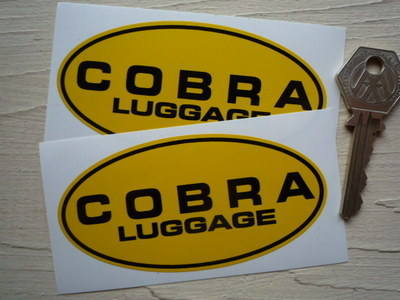 "Cobra Luggage Yellow & Black Oval Stickers. 4"" Pair."