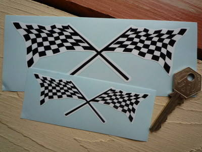 "Chequered Flag Crossed Mallory Park Style Sticker. 4"", 6"" or 8""."