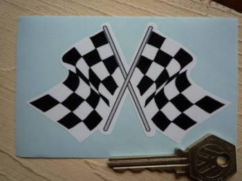 "Chequered Flag Crossed Daytona Style Sticker. 4""."