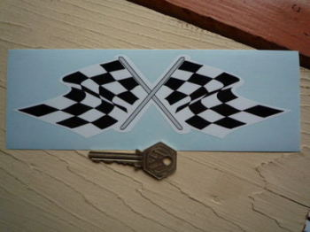 "Chequered Flag Crossed Daytona Style Sticker. 8""."