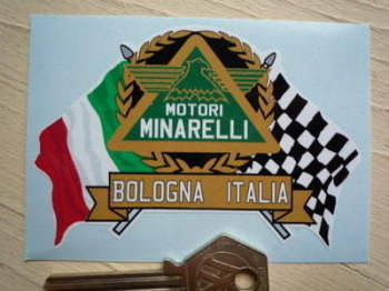 "Motori Minarelli Flag & Scroll Sticker. 4""."
