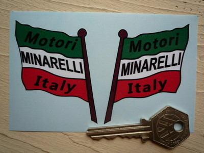 "Motori Minarelli Italy Handed Flag Stickers. 2"" Pair."