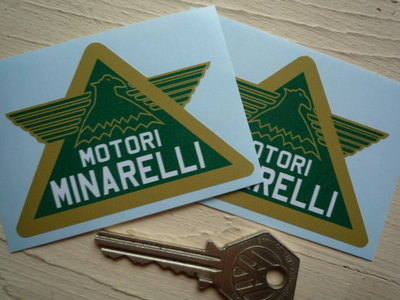 "Motori Minarelli Green Winged Triangular Stickers. 3"" Pair."