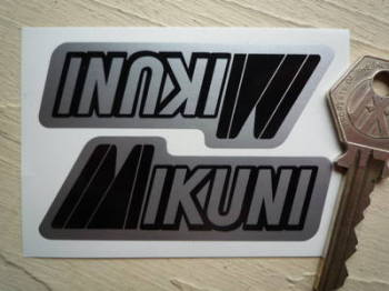 "Mikuni Black & Silver Stickers. 3"" Pair."