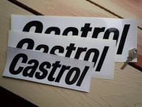 "Castrol Printed Text Oblong Stickers. 6"", 8"", 10"", or 12"" Pair."
