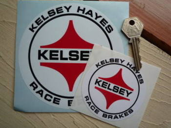 "Kelsey Hayes Race Brakes Circular Stickers. 3"" or 5"" pair."