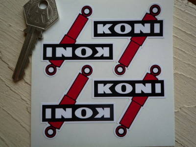"""Koni Shock Absorber Shaped Stickers. Set of 4. 2""""."""