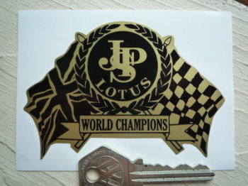 "JPS Lotus World Champions Flag & Scroll Sticker. 4"" or 8""."