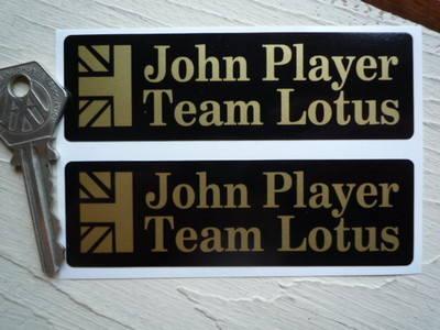 "John Player Team Lotus Oblong Stickers. 4"" or 6"" Pair."