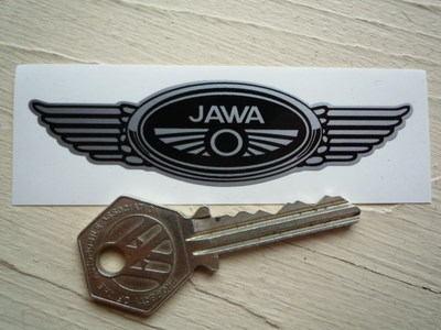 "Jawa Winged Motorcycle Helmet Sticker. 3.5"" or 7""."