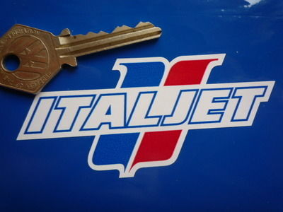 "Italjet Blue, Red & White Shaped Logo Stickers. 3.5"" or 6"" Pair."
