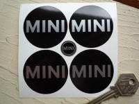 Mini Silver on Black No Border Wheel Centre Stickers. Set of 4. 44mm or 50mm.