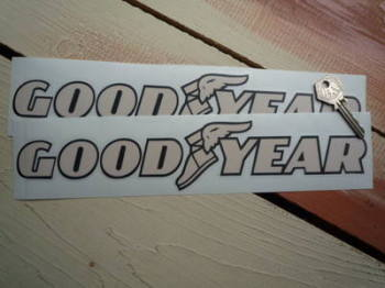 "GoodYear Beige & Cream Cut Text Stickers. 12"" Pair."