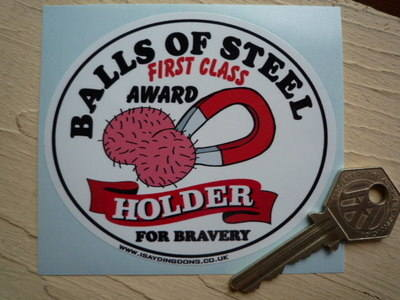 "Balls Of Steel Award Holder Rude Sticker. 4""."