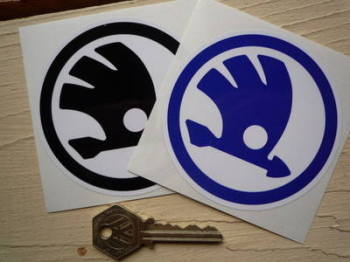 "Skoda Old Style Circular Logo Printed Stickers. 3.5"" Pair."