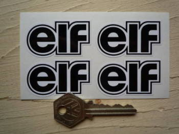 "Elf Black & White Shaped Text Stickers. Set of 4. 2""."