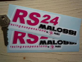 "Malossi RS24 Racing Suspensions by Paioli Stickers. 5.75"" Pair."