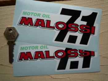 "Malossi 7.1 Motor Oil Stickers. 5.5"" Pair."