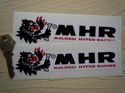 """Malossi Hyper Racing MHR Stickers. 6"""" Pair."""