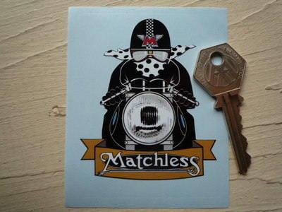"""Matchless Cafe Racer with Spotty Scarf Sticker. 3""""."""
