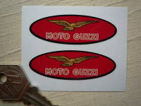 Moto Guzzi Thin Red Ovals with Brown Text Stickers. 2.25
