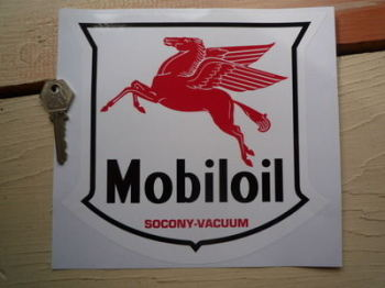 "Mobil Mobiloil Socony Vacuum Shield Style Sticker. 8"" or 10""."