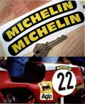 "Michelin Curved Text Stickers. 6"" Pair."