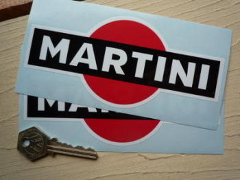 "Martini Logo Stickers. Black. 4"" or 6"" Pair."