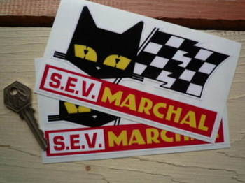 "SEV Marchal Cat & Script Red with Yellow Marchal Stickers. 6"" Pair."