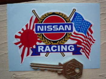 "Nissan Racing USA & Japanese Flags & Scroll Sticker. 4""."