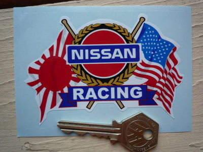"Nissan Racing USA & Japanese Flags & Scroll Sticker. 4""."