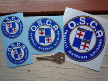 "O.S.C.A Fratelli Maserati Bologna Round Stickers. 1"", 2"", 3"" or 4"" Pair."