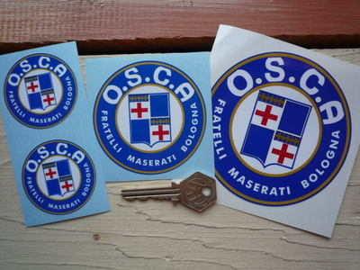 "O.S.C.A Fratelli Maserati Bologna Round Stickers. 1"", 2"", 3"" or 4"" Pair. OSCA Osca"