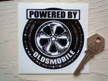 "Powered By Oldsmobile Wheel Style Sticker. 3.5""."