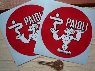 """Paioli Ducati Old Style Red Round Stickers. 3"""" or 5"""" Pair."""
