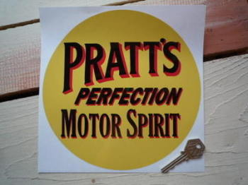 "Pratt's Perfection Motor Spirit Circular Sticker. 8""."