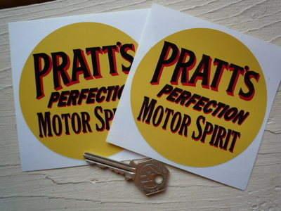 "Pratt's Perfection Motor Spirit Circular Stickers. 4"" Pair."