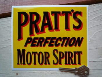 "Pratt's Perfection Motor Spirit Oblong Sticker. 6"" or 9""."