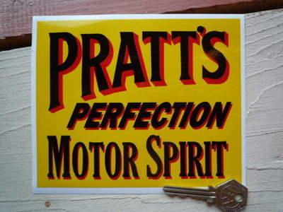 """Pratt's Perfection Motor Spirit Oblong Sticker. 6"""" or 9""""."""