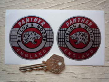 "Panther England Phelon & Moore Circular Stickers. 2.5"" or 3"" Pair."