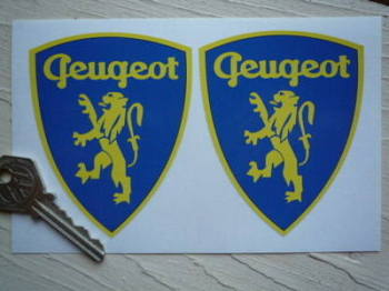 "Peugeot Classic Lion in Shield Stickers. 3.5"" Pair."