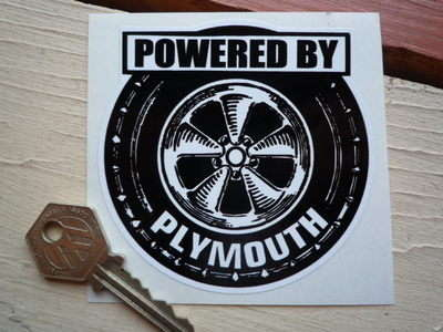 """Powered By Plymouth Wheel Style Sticker. 3.5""""."""