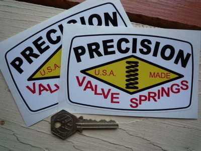 "Precision Valve Springs Stickers. 5"" Pair."