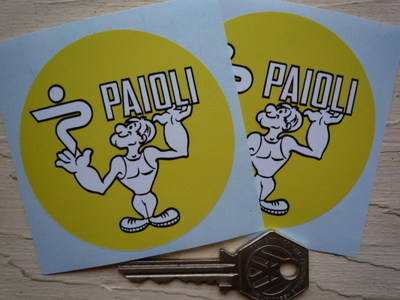 "Paioli Ducati Circular Yellow Stickers. 2.75"" Pair."