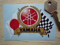 "Yamaha Flag & Scroll Sticker. 3.75""."