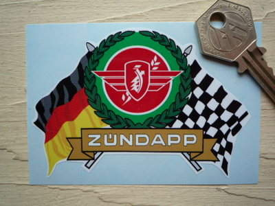 "Zündapp Flag & Scroll Sticker. 3.75""."